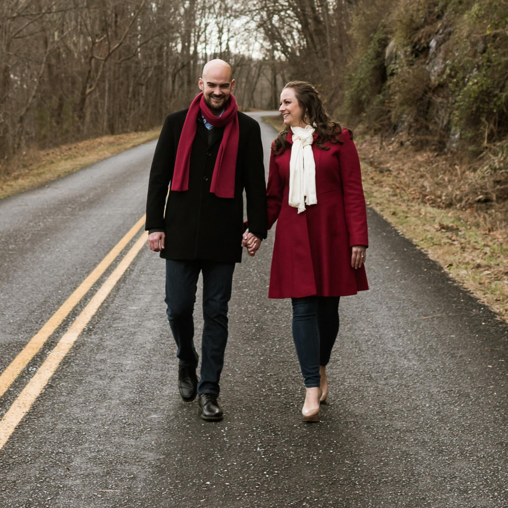 Lisa Castellani and Kyle Phillips Walking on the Blue Ridge Parkway